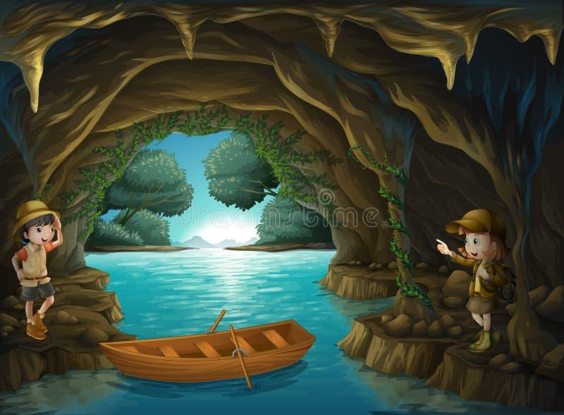 Exploradores jovenes dentro de la cueva ilustración del vector