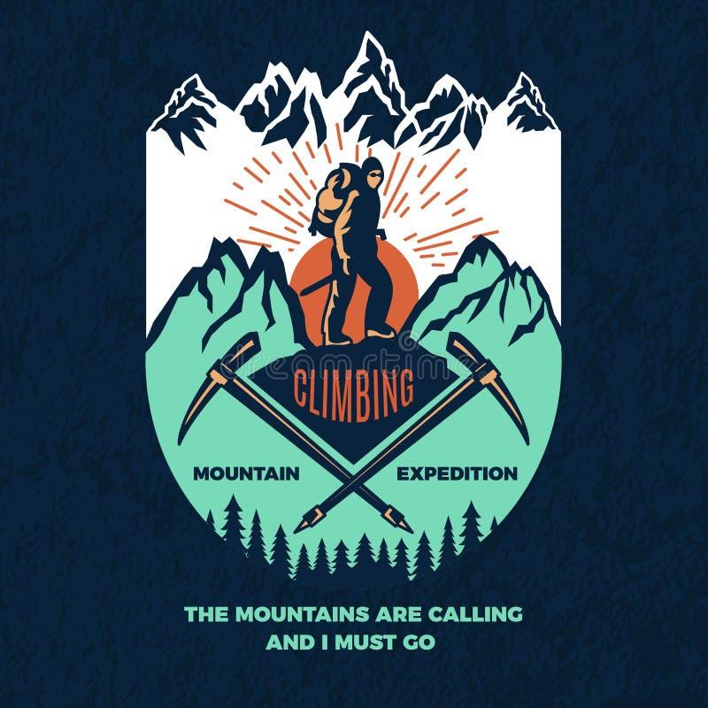 explorar Cartaz do vintage do alpinismo Etiqueta do curso ilustração do vetor