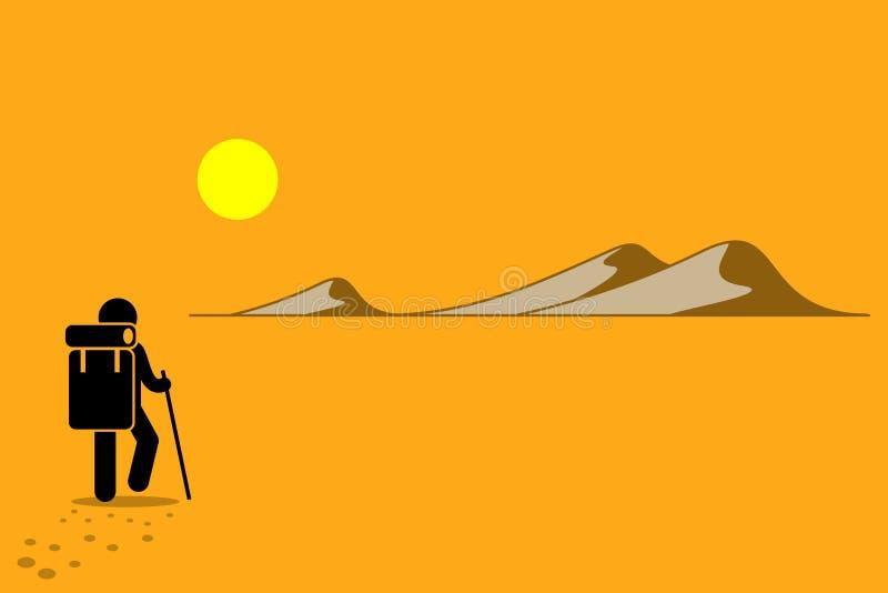 Explorateur au désert de colline et de montagne de sable illustration libre de droits