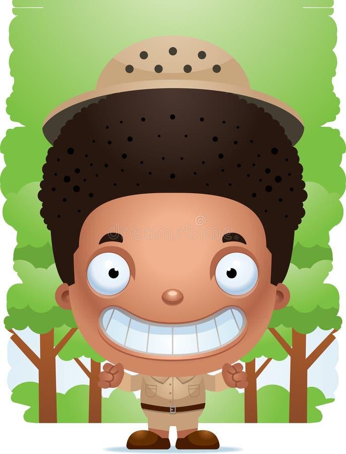 Explorateur de sourire de garçon de bande dessinée illustration de vecteur