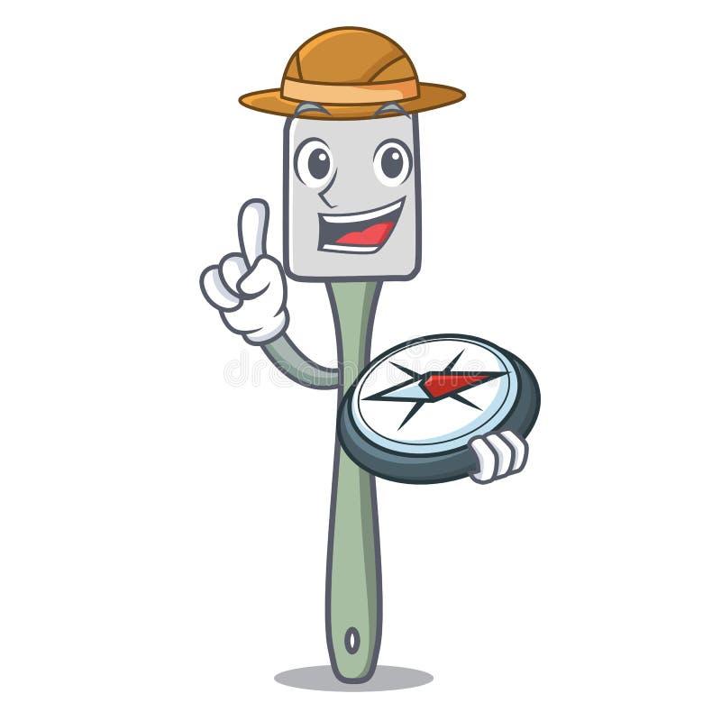 Explorateur faisant cuire la bande dessinée de mascotte de spatule de silicone d'outil illustration stock