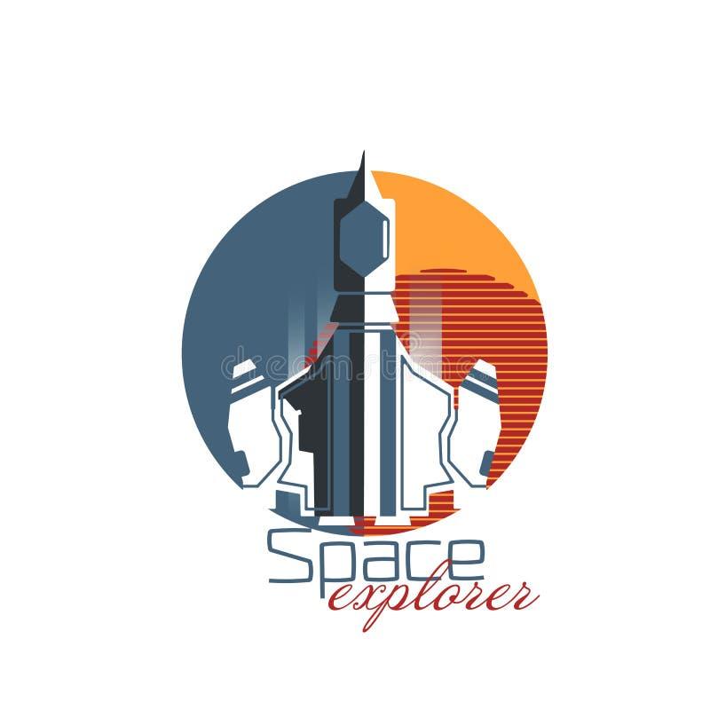 Explorateur gris de vaisseau spatial avec la planète rouge illustration libre de droits
