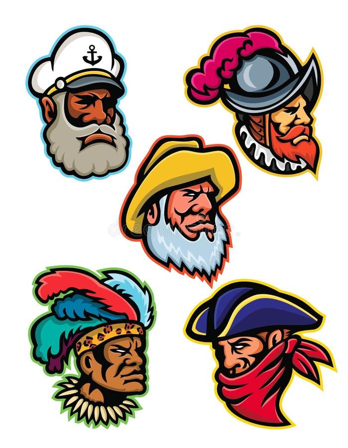Explorateurs, capitaines et mascotte de guerrier illustration de vecteur