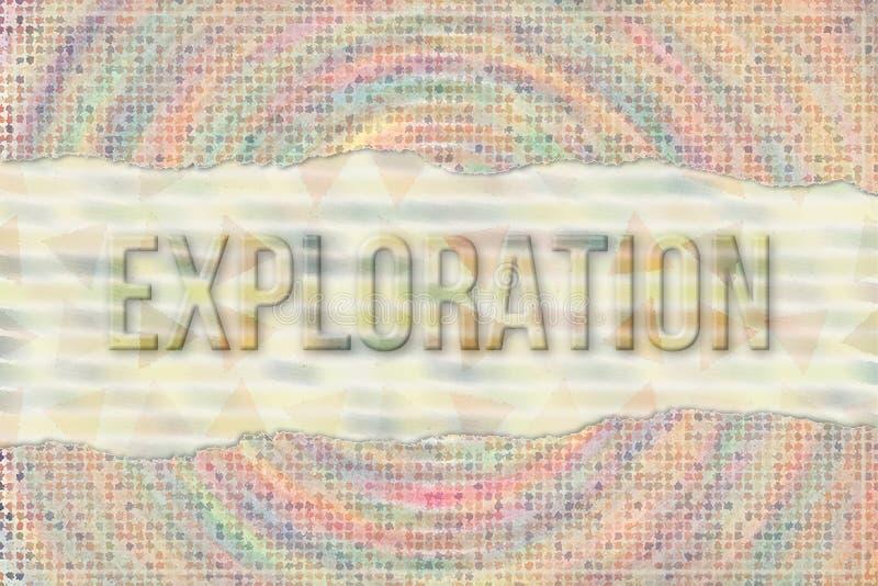 Exploratie, reis & vakantie conceptuele woorden met abstract overlappend vormpatroon als achtergrond stock illustratie