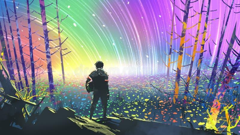 Exploration de la planète colorée illustration de vecteur