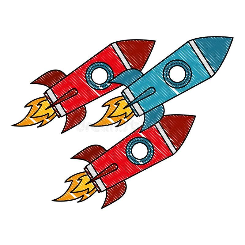 Exploration de voyage dans l'espace de trois fusées illustration stock