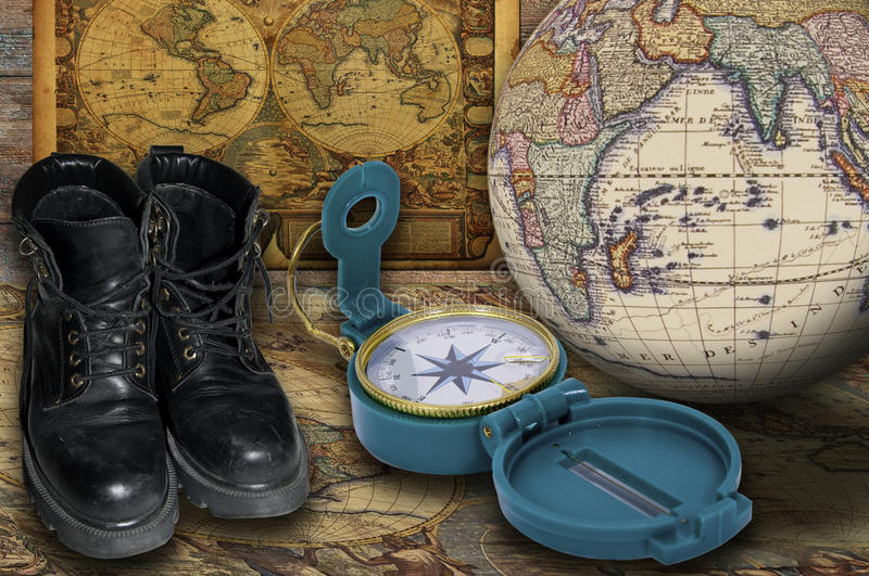 Exploration and discovery. Set of objects to plan an exploration stock photo