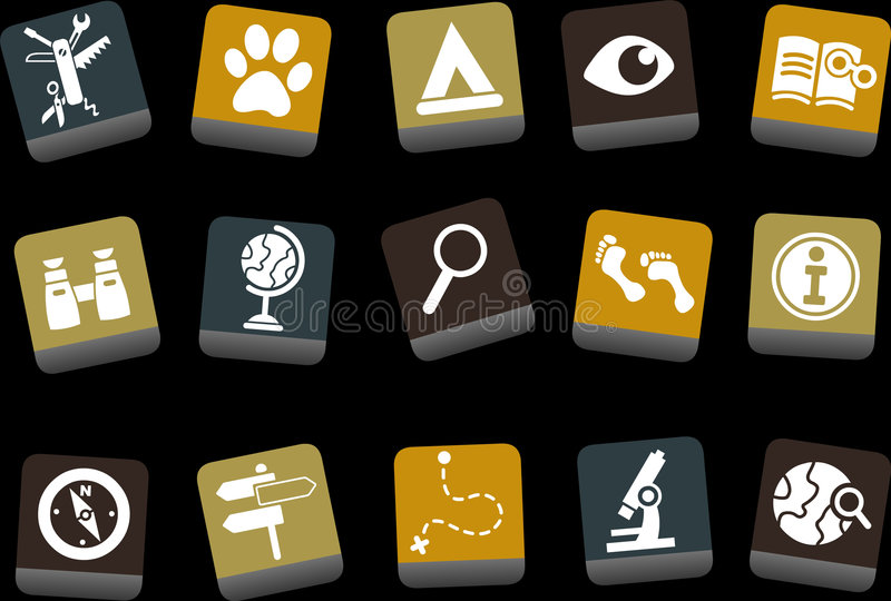 Exploration Icon. Vector icons pack - Yellow-Brown-Blue Series, exploration collection vector illustration
