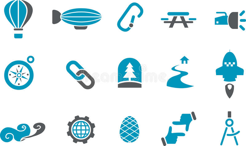 Download Exploration Icon Set stock illustration. Image of hill - 11042546