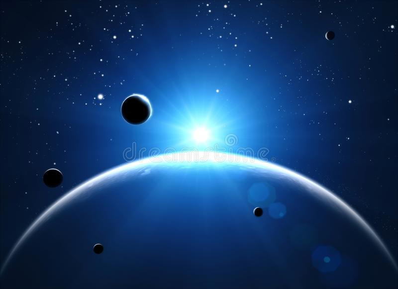 Exploration of new worlds, space and universe, new galaxies. Planets in backlight vector illustration