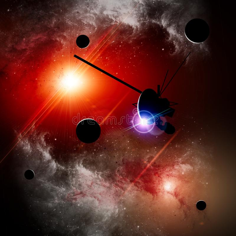 Exploration of new worlds, space and universe, new galaxies. Planets in backlight. Solar system. Probe, Voyager stock illustration