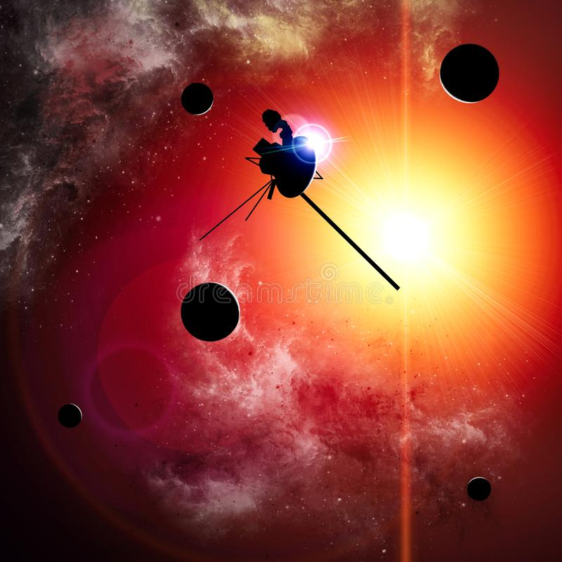 Exploration of new worlds, space and universe, new galaxies. Planets in backlight. Solar system. Probe, Voyager vector illustration