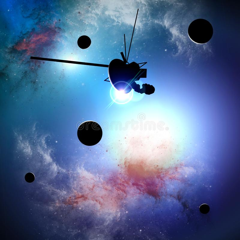 Exploration of new worlds, space and universe, new galaxies. Planets in backlight. Solar system. Probe, Voyager royalty free stock images