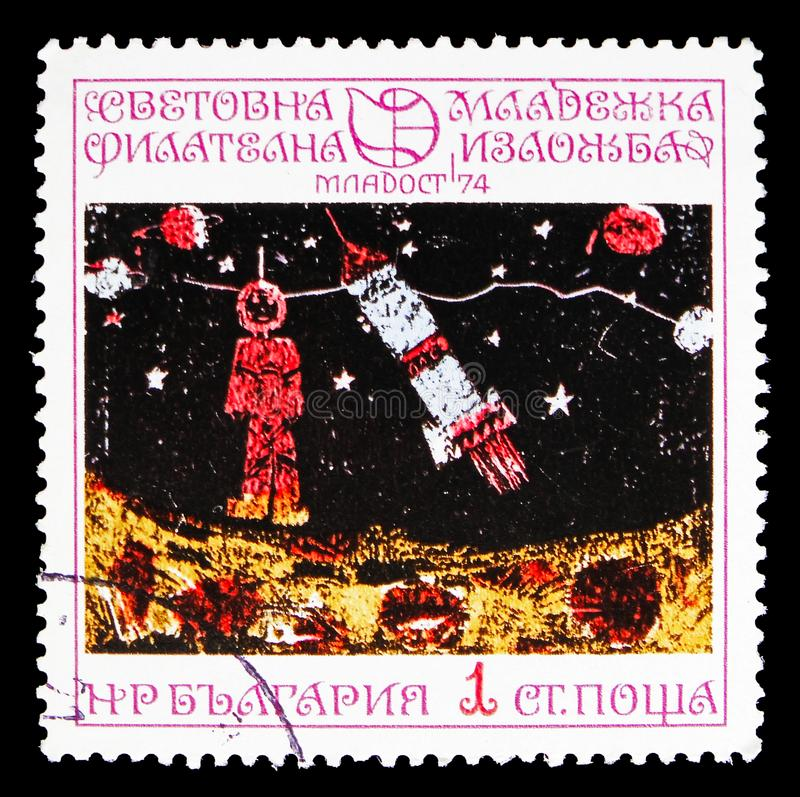 Exploration of outer space for peaceful purposes, Youth Stamp Exhibition '74: Children's Drawings serie, circa 1974. MOSCOW, RUSSIA - SEPTEMBER 15, 2018: A stamp royalty free stock images