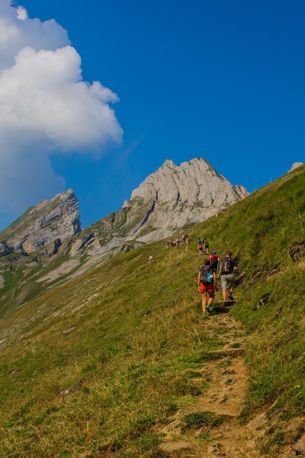 Exploratory turnera till och med den härliga Appenzell bergregionen, Schweiz, arkivfoto
