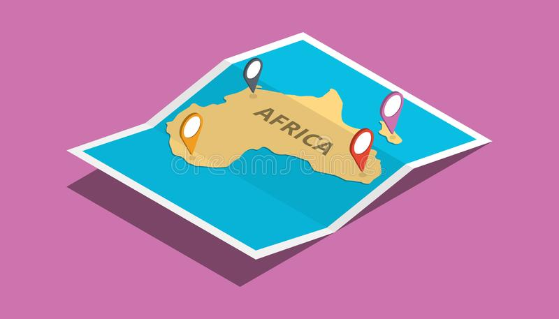 Explore africa nation with maps pin tag location with isometric 3d style stock illustration