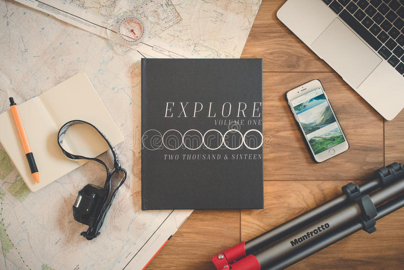 Explore Book Beside Silver Iphone 6 On Brown Wooden Surface Free Public Domain Cc0 Image