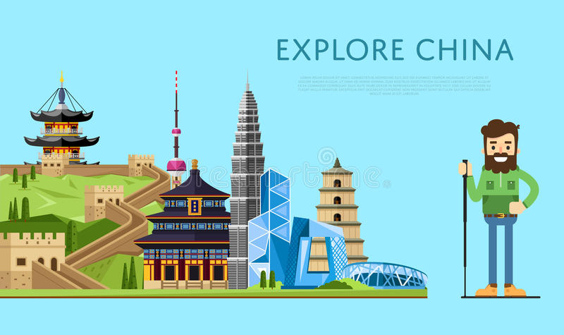 Explore China banner with smiling tourist. On background of famous traditional and modern asian buildings. Man traveler hiking. Asian architecture in flat vector illustration