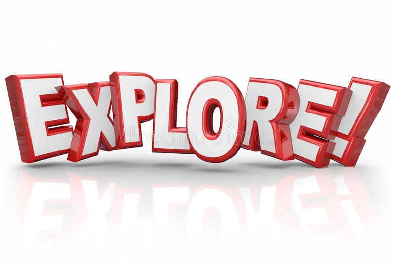 Explore 3d Word Curious Adventure Inspection Examination royalty free illustration
