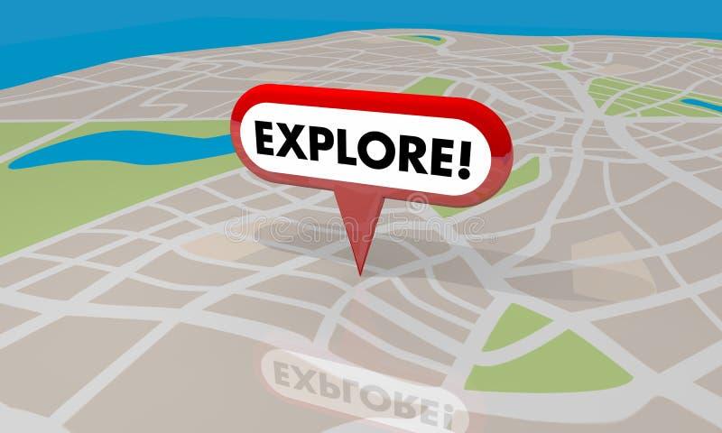 Explore Discover Adventure Travel Spot Trip Map Pin Word 3d Illustration stock illustration