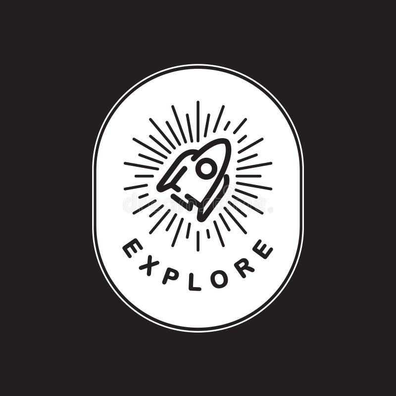 Explore el concepto del gráfico de la palabra del icono de Astro de la exploración stock de ilustración