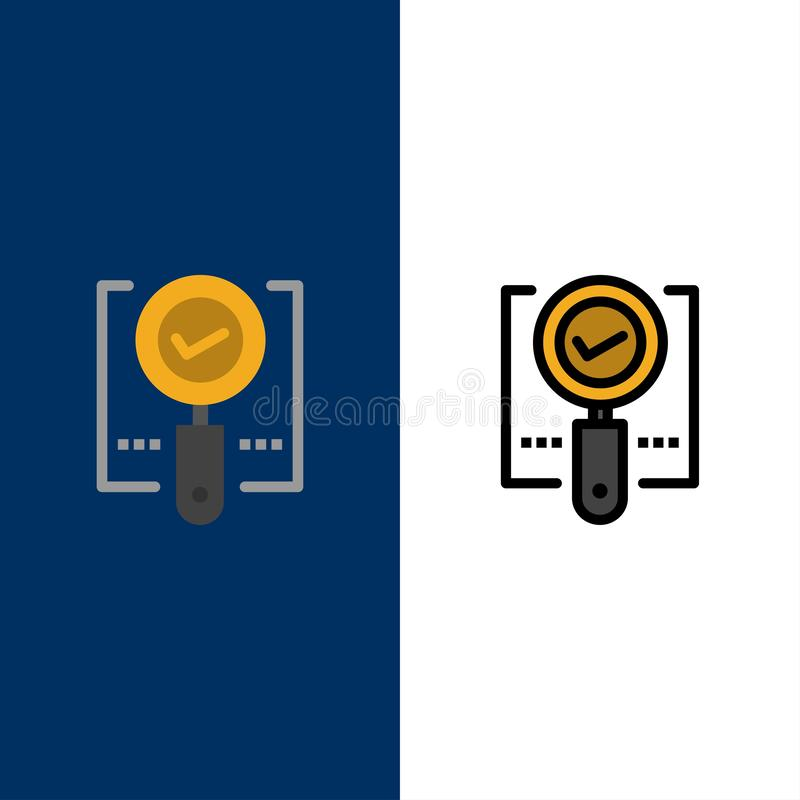 Explore, Find, Magnifier, Ok, Search  Icons. Flat and Line Filled Icon Set Vector Blue Background stock illustration