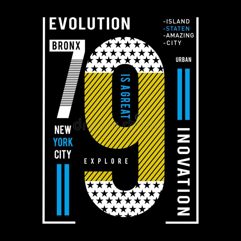 Explore la camiseta de la tipografía de New York City stock de ilustración