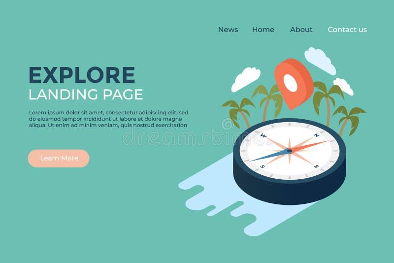 Explore la plantilla ilustrada diseño web de la página del aterrizaje del concepto de la geografía y de la historia del mundo libre illustration