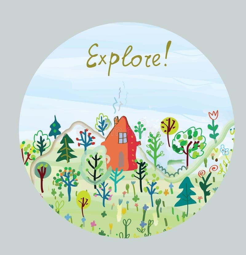 Explore la tarjeta de la naturaleza - diseño redondo ilustración del vector