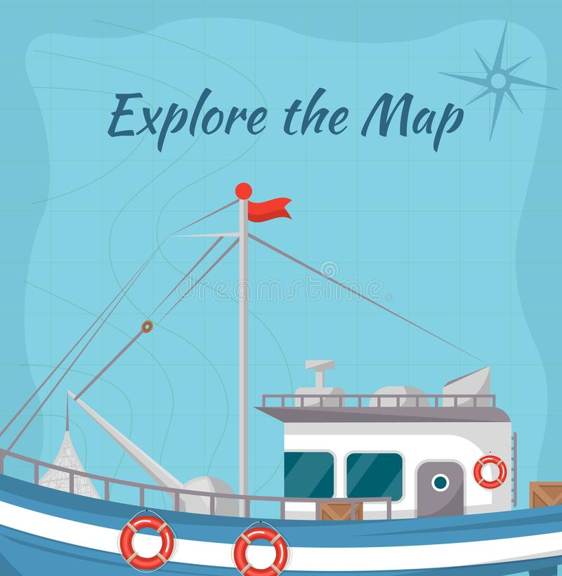 Explore the map poster with ship. Retro marine flotilla of ships, industrial nautical transportation. Fishing company concept, trawler for traditional seafood stock illustration