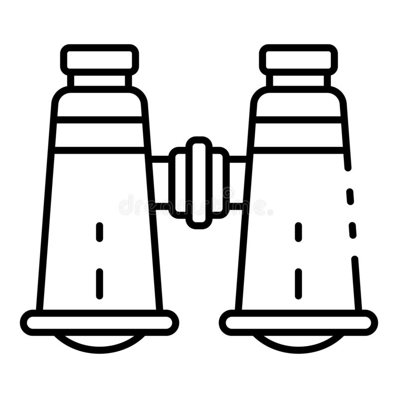 Explore o ícone dos binóculos, estilo do esboço ilustração do vetor