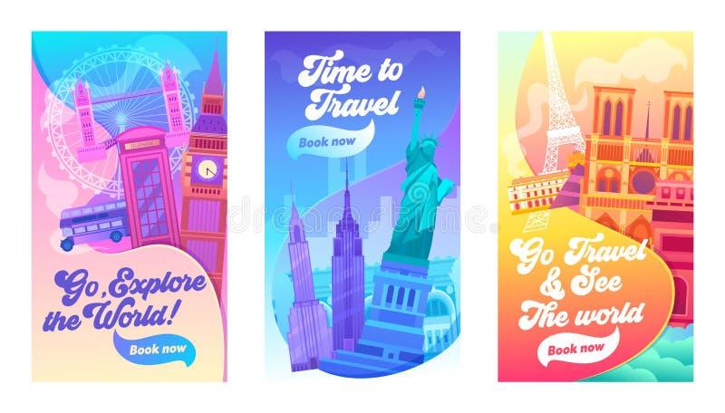 Explore o grupo da bandeira da tipografia do mundo Férias em Reino Unido, em América e em França Hora para a vista do curso e da  ilustração do vetor
