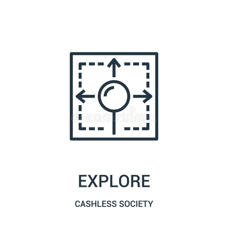explore o vetor do ícone da coleção cashless da sociedade A linha fina explora a ilustração do vetor do ícone do esboço ilustração do vetor