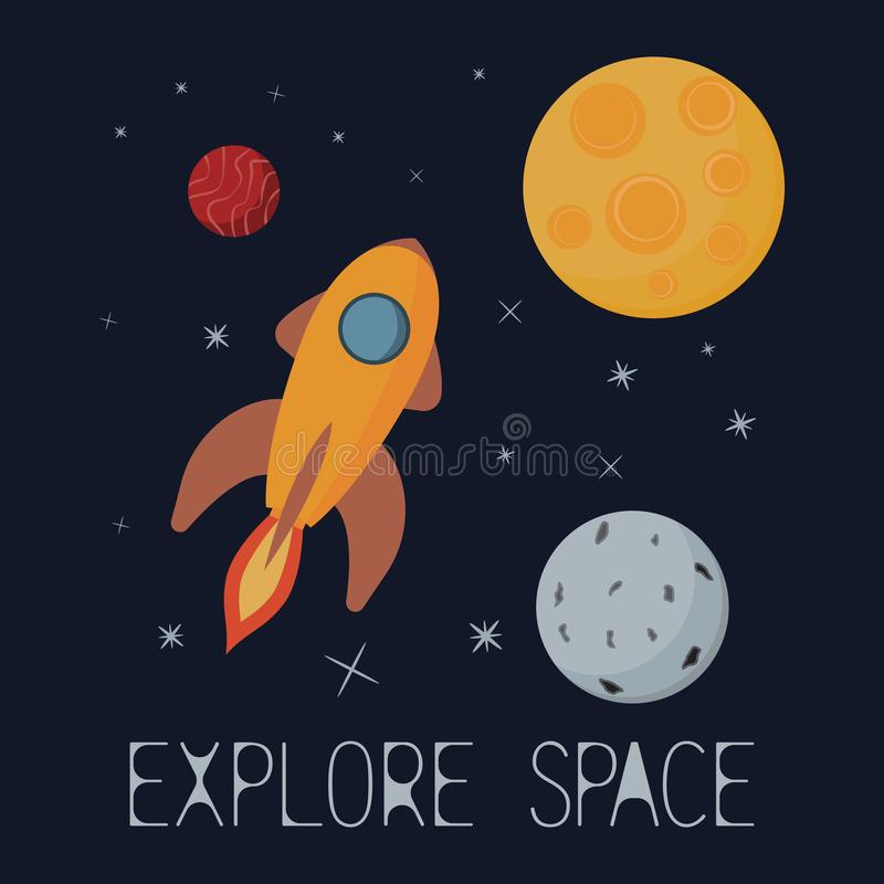 Explore space. Spaceship flying to the stars. royalty free illustration