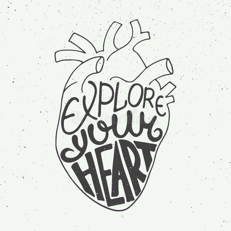 Explore su corazón en corazón anatómico en fondo del vintage stock de ilustración