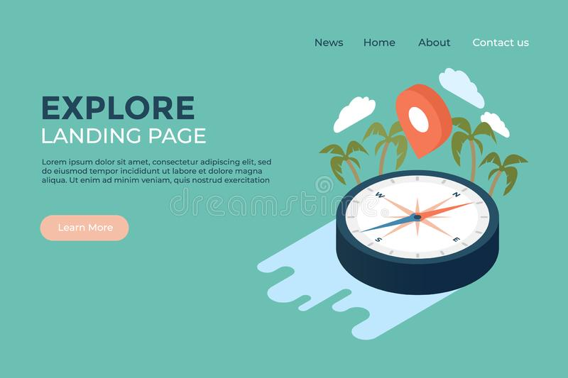 Explore world geography and history concept landing page web design illustrated template royalty free illustration