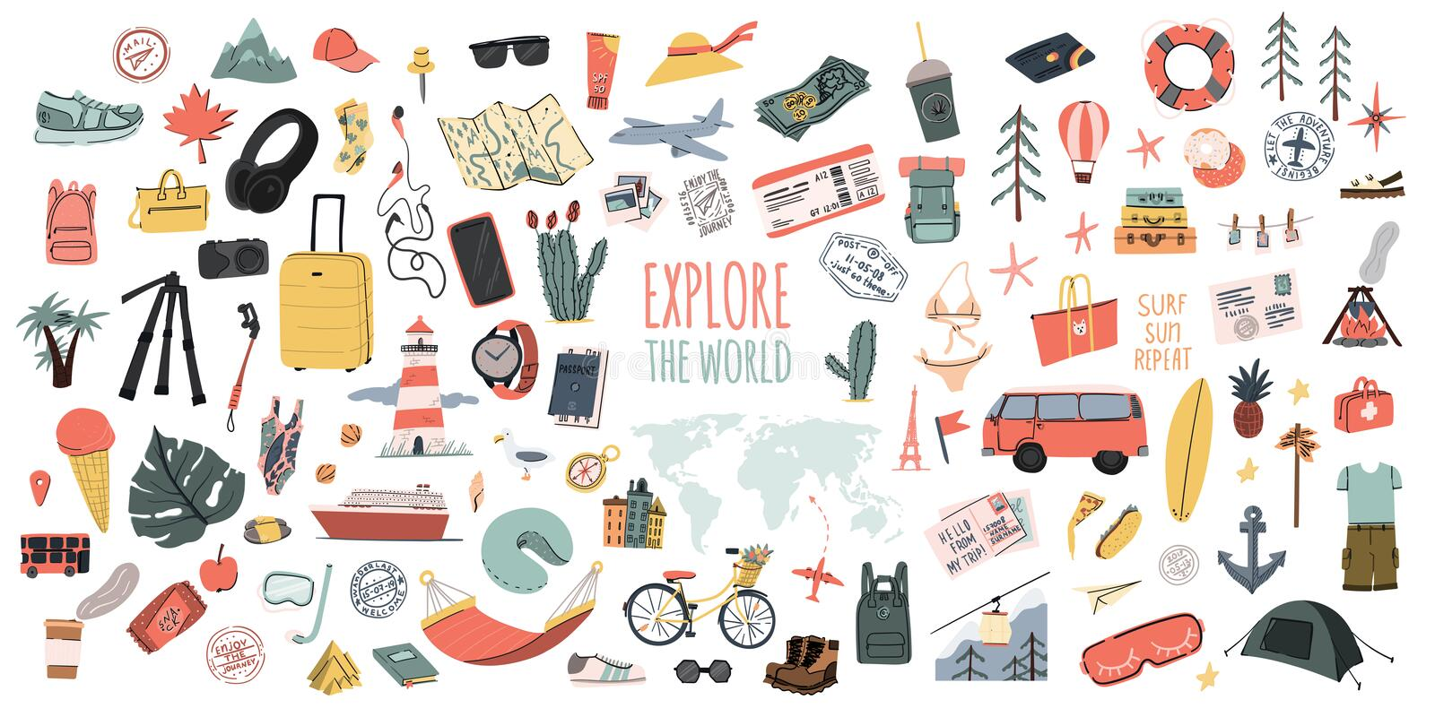 Explore the world. Hand drawn travel set. Summer vacation time doodle icons collection. Pins or stamps, prints or logos. royalty free illustration