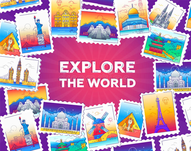 Explore the world - vector line travel illustration. Explore the world - modern vector line travel illustration of postcard with a frame of stamps with world royalty free illustration