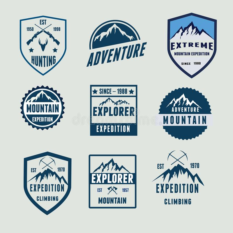 Explorer Badges Mountain Logo Badges stock image