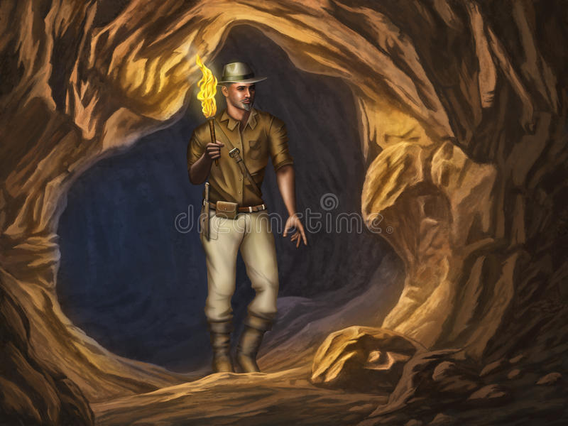 Explorer In A Cave Royalty Free Stock Photos