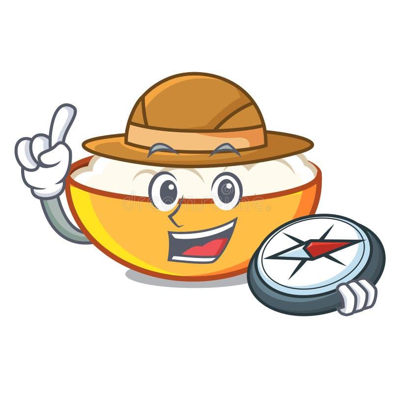 Explorer cottage cheese mascot cartoon. Vector illustration vector illustration