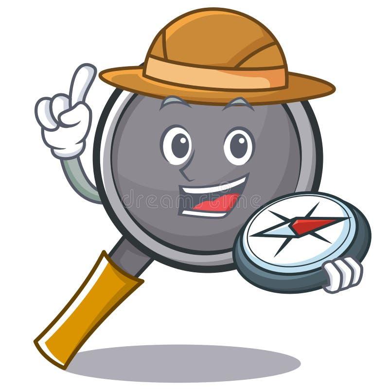 Explorer frying pan cartoon character. Vector illustration stock illustration