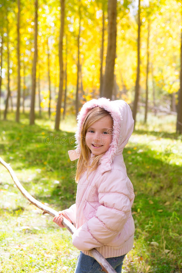 Download Explorer Girl With Stick In Poplar Yellow Autumn Forest Stock Image - Image: 28943233