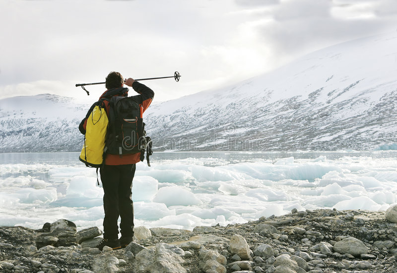 Explorer in a glacier royalty free stock images