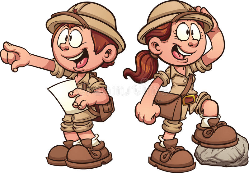 Explorer kids. Boy and girl in safari outfits. Vector clip art cartoon illustration with simple gradients