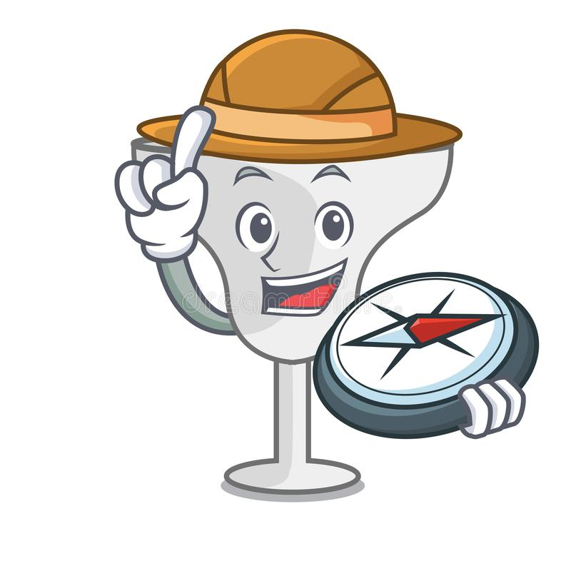 Explorer margarita glass mascot cartoon. Vector illustration stock illustration