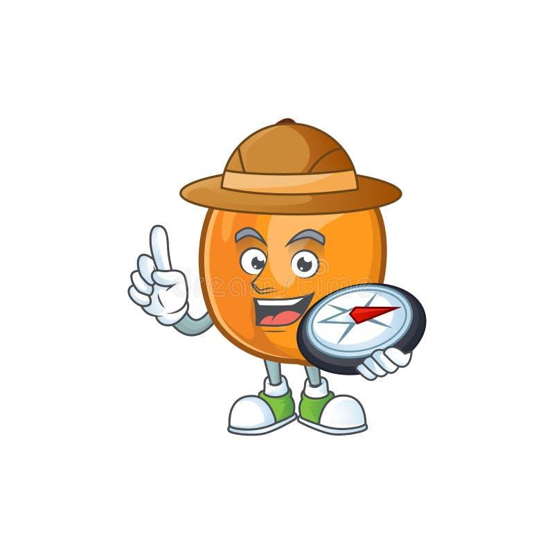 Explorer ripe apricot character mascot of cartoon. Vector illustration stock illustration