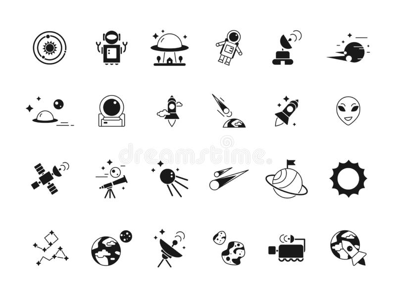 Explorer space icons. Telescope shuttle astronauts in moon and various planets satellites. Vector silhouettes of space royalty free illustration