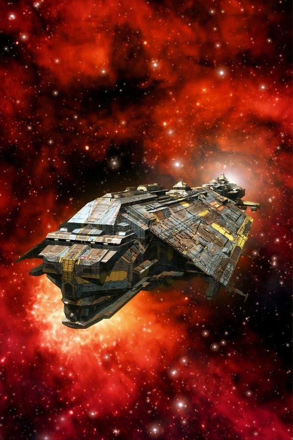 Explorer spaceship and nebula stock illustration