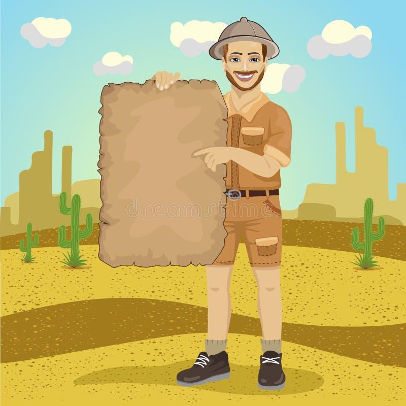 Explorer young man with safari hat holding treasure map in desert vector illustration
